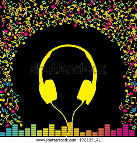 Headphones Colourful Music Notes Background Stock Vector Royalty