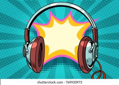 headphones comic bubble audio. Pop art retro vector illustration