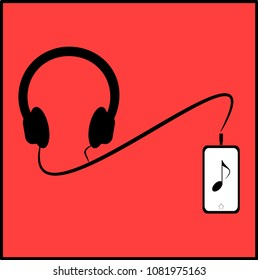 Headphones connects to the mobile to listen to music on red background. Flat design, Vector illustration