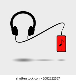 Headphones connects to the mobile to listen to music on gray background and shadow. Flat design, Vector illustration