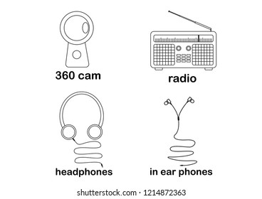 headphones ear phones in ear phones radio music camera 360cam 360 cam communication media listening dance icon vector illustration flatline flat business infographic