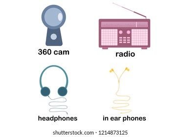 headphones ear phones in ear phones radio music camera 360cam 360 cam communication media listening dance icon vector illustration flatline flat business infographic headset