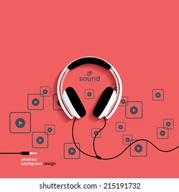 Headphones, flat icon isolated on a red background. Sound concept background design layout for poster flyer cover brochure
