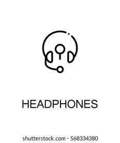 Headphones flat icon set. Collection of high quality outline symbols for web design, mobile app. Headphones vector thin line icons or logo.