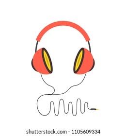 Headphones in flat style. Vector illustration.