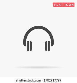 Headphones flat vector icon. Glyph style sign. Simple hand drawn illustrations symbol for concept infographics, designs projects, UI and UX, website or mobile application.