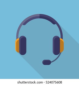 Headphones Headset Icon Flat Design Long Shadow
