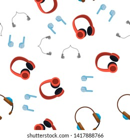 Headphones Icon Seamless Pattern Vector. Audio Stereo Headphones Icon. Volume Symbol. Listen Music. Acoustic Accessory Illustration