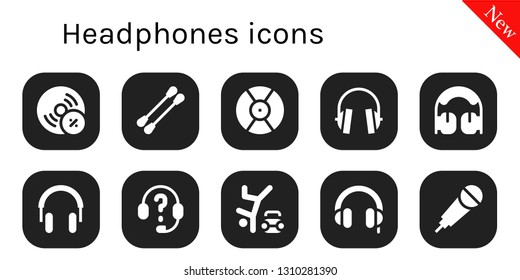 headphones icon set. 10 filled headphones icons.  Simple modern icons about  - Vynil, Earbuds, DJ, Headphones, Hip hop, Karaoke