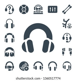 headphones icon set. 17 filled headphones icons.  Collection Of - Headphones, Hip hop, Earphones, DJ, Vynil, Earbuds