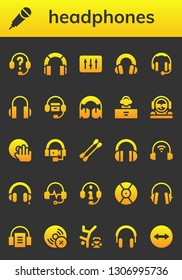 headphones icon set. 26 filled headphones icons.  Simple modern icons about  - Headphones, Karaoke, DJ, Earbuds, Audiobook, Vynil, Hip hop, Team viewer