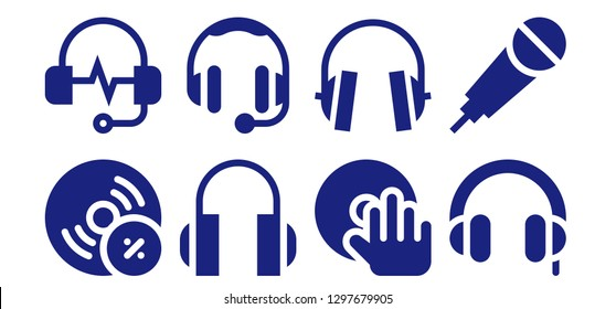 headphones icon set. 8 filled headphones icons. Simple modern icons about  - Vynil, Headphones, DJ, Karaoke