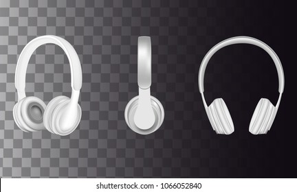 Headphones icon set. Vector realistic white headphones music accessories isolated on transparent background.