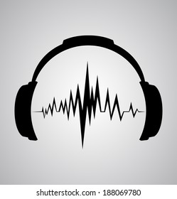 headphones icon with sound wave beats
