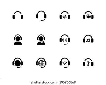Headphones icons on white background. Vector illustration.