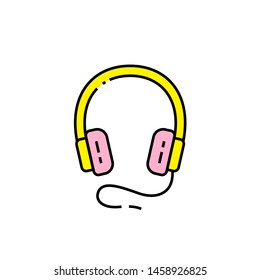 Headphones line icon. Colorful headset symbol. Earphones sign. Vector illustration.