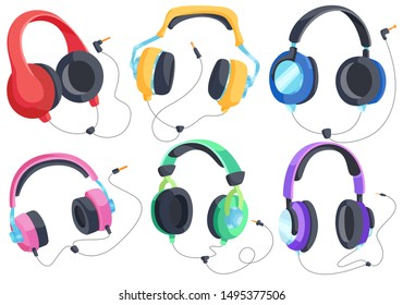 Headphones for listening to music, headphone vector set, over-ear headphones, multi-colored headphones. Vector isolated headphones on a white background.