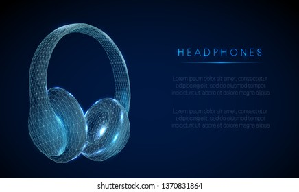 Headphones.  Low poly style design. Abstract geometric background. Wireframe light connection structure. Modern 3d graphic concept. Isolated vector illustration.
