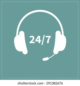 Headphones with microphone Non stop 24 7 customer service Support operator help icon Flat design Vector illustration