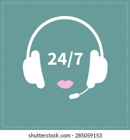 Headphones with microphone Pink lips Non stop 24 7 customer service Support operator help icon Flat design Vector illustration