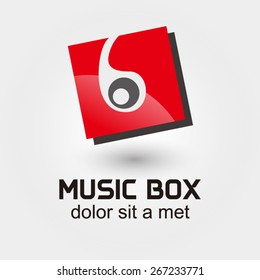 Headphones with Music box vector logo design template.