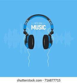 Headphones / Music Flat Vector Illustration