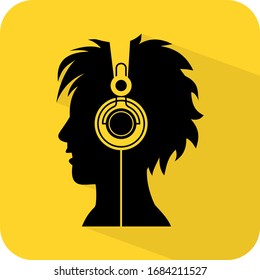 Headphones music listening figure sign. Avatar man pop punk songs. Melody headset. Rhythm entertainment. Flat illustration black vector. Song tag. Brand product service. Label board banner. App icon.