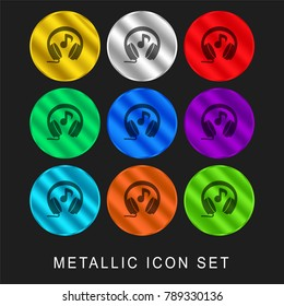 Headphones with music note 9 color metallic chromium icon or logo set including gold and silver