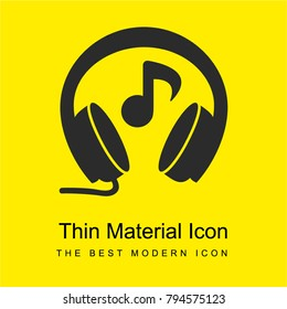Headphones with music note bright yellow material minimal icon or logo design