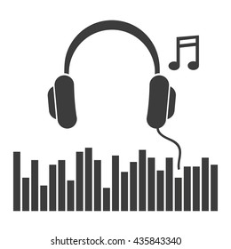 Headphones music note icon. Flat vector illustration in black on white background. EPS 10