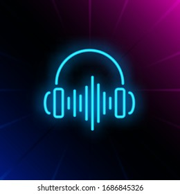 Headphones neon sign. Luminous signboard with earphones and soundwave. Night bright advertisement. Vector illustration in neon style for music store, entertainment, song