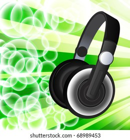 Headphones on the abstract background