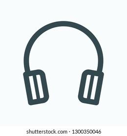 Headphones outline icon, computer headphones vector icon