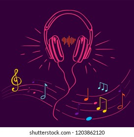 Headphones performing loud sounds vector doodles in flat style. Headset hand drawn musical earphones with melody. Music poster with treble clef, notes set