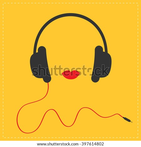 Headphones with red cord and lips Music card. Flat design icon Yellow background Vector illustration