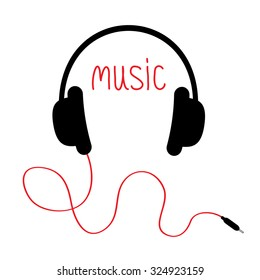 Headphones with red cord and word Music. Card. Flat design. White background. Vector illustration.