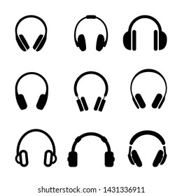 Headphones set icons in flat style on a white background. Vector