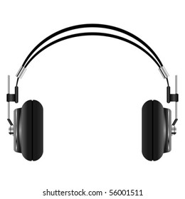 Headphones set isolated over white square background
