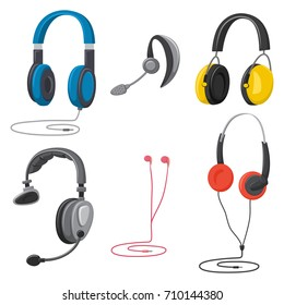 Headphones set: music, protective, with a microphone, hands free, in-ear and retro. Earphones vector cartoon icons isolated on white background.