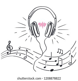 Headphones and sheet music with notes, monochrome sketches outline isolated vector line art. Headset earphone with adjustable headband, stereo audio volume