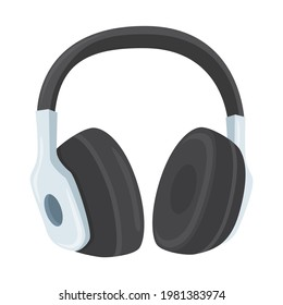 Headphones Sign Emoji Icon Illustration. Music Vector Symbol Emoticon Design Clip Art Sign Comic Style.