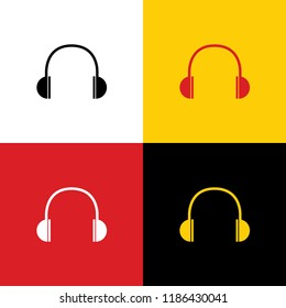 Headphones sign illustration. Vector. Icons of german flag on corresponding colors as background.