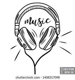 Headphones. Sketch. Hand drawing. Music. Bit. For your design.