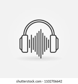 Headphones with sound wave outline icon. Vector music concept linear sign