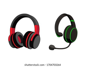 Headphones stereo. Customer service or gamer headset. Headphone with microphone. Vector graphic illustration. Isolated white background