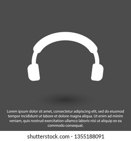 Headphones vector icon on background. Web design icon. Headphones icon minimalist design. Headphones for music