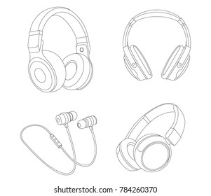Headphones vector Illustration, Earphones, Line vector, DJ device, DJ headphones, Musical Instrument