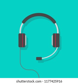 Headphones vector illustration, flat cartoon headset with mic isolated