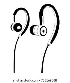 Headphones vector illustration, Line art vector, Music device, Headphones vector Illustration, Earphones, Line vector, DJ device, DJ headphones, Musical Instrument