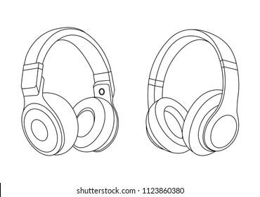 Headphones Vector Illustration, Music Concept, Line art vector, Portable earphones, Headphones set icon